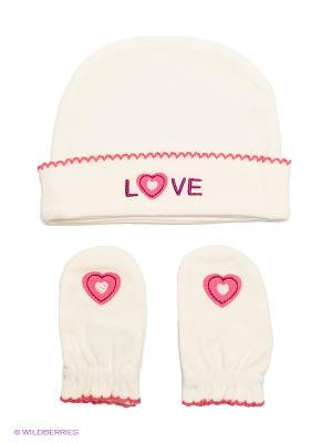 Комплект из шапочки и рукавичек HappyBabyDays. Цвет: бежевый