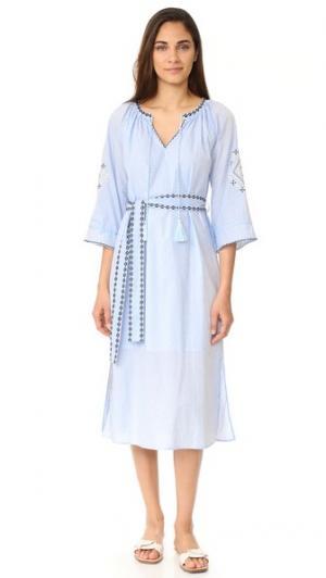 Платье с вышивкой Moon River. Цвет: светло-голубой
