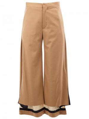 Высокие брюки с контрастными щиколатками Undercover. Цвет: телесный