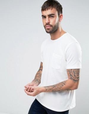 YMC Футболка с перфорацией и карманом. Цвет: белый