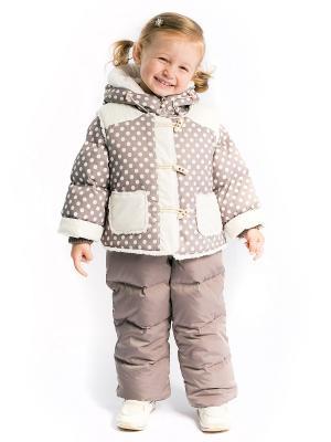 Комбинезон Дуняша пуховый с утепленным жилетом Аксарт. Цвет: кремовый, серо-коричневый, светло-коричневый