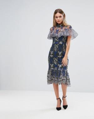 Three Floor Платье миди с вышивкой и рюшами. Цвет: темно-синий