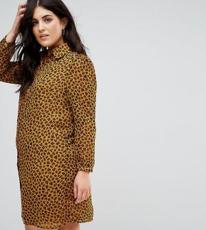 Fashion Union Plus Платье-рубашка с леопардовым принтом. Цвет: желтый