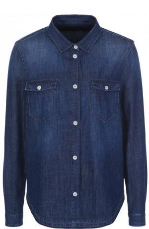 Джинсовая блуза свободного кроя с потертостями 7 For All Mankind. Цвет: синий