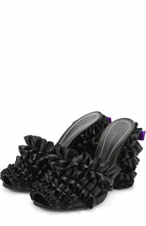 Мюли из текстиля с оборками Marco de Vincenzo. Цвет: черный