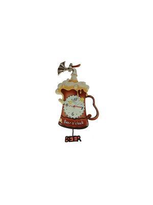 Часы настенные с маятником Пиво Русские подарки. Цвет: коричневый