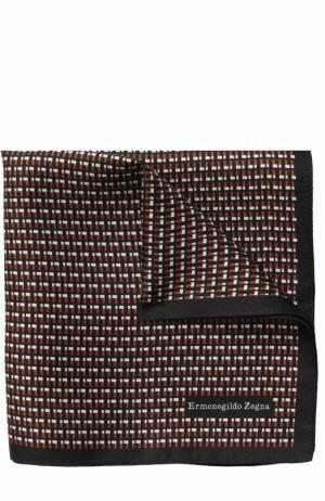 Шелковый платок с принтом Ermenegildo Zegna. Цвет: коричневый