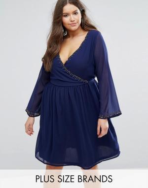 Koko Короткое приталенное платье с отделкой бисером Plus. Цвет: темно-синий