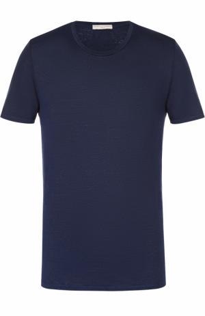 Льняная футболка с круглым вырезом Daniele Fiesoli. Цвет: темно-синий