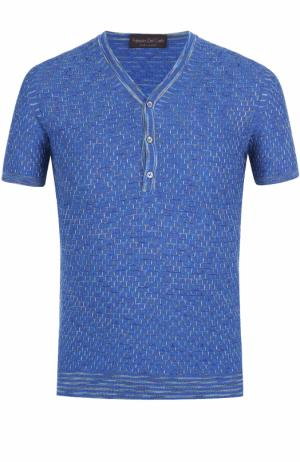 Хлопковый пуловер с короткими рукавами и воротником на пуговицах Fabrizio Del Carlo. Цвет: синий