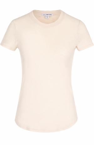 Хлопковая футболка с круглым вырезом James Perse. Цвет: бежевый
