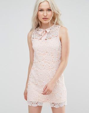 Foxiedox Кружевное платье с маками. Цвет: розовый