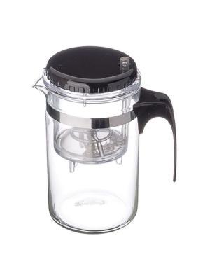 Чайник заварочный с кнопкой 500мл, стекло, пластик KONONO. Цвет: серебристый