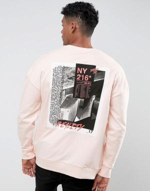 River Island Розовый свитшот с принтом New York. Цвет: оранжевый