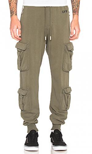 Вываренные брюки карго OFF-WHITE. Цвет: оливковый