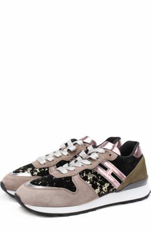Комбинированные кроссовки на шнуровке Hogan. Цвет: темно-бежевый
