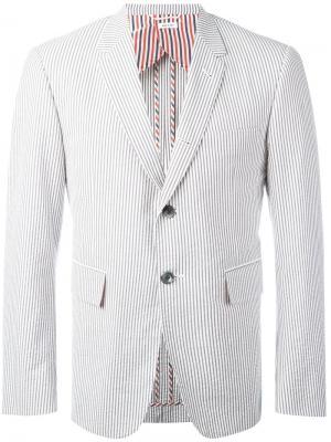 Полосатый пиджак Thom Browne. Цвет: белый
