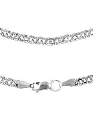 Цепочка Бисмарк с алмазной огранкой Young Moon jewels. Цвет: серебристый