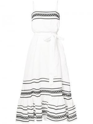 Длинное расклешенное платье Lisa Marie Fernandez. Цвет: белый