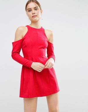 ASOS Платье мини с длинными рукавами. Цвет: красный