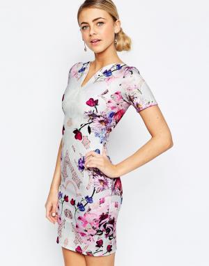 Hope and Ivy Платье-футляр с цветочным принтом. Цвет: мульти