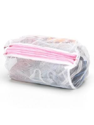 Мешок для стирки с тремя карманами, полиэстер, 20х30см KONONO. Цвет: белый