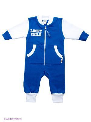 Комбинезон Lucky Child. Цвет: синий, белый