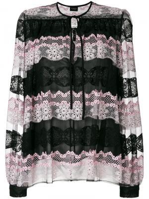 Блузка с кружевной вставкой Giambattista Valli. Цвет: чёрный