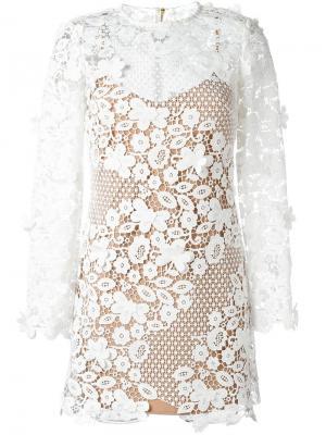 Полупрозрачное платье с цветочным узором Self-Portrait. Цвет: белый
