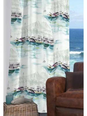 Штора Бургундия Tricotika. Цвет: морская волна, белый, светло-серый