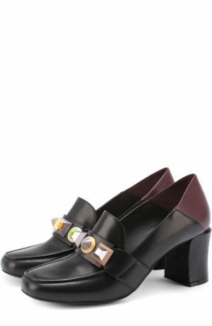 Кожаные туфли с декорированной перемычкой Fendi. Цвет: черный
