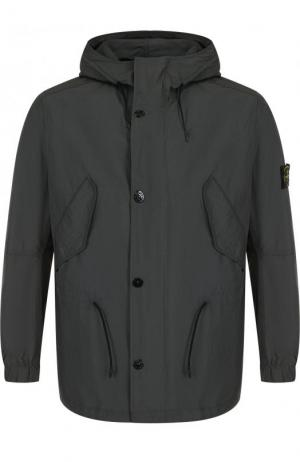 Куртка на молнии с капюшоном Stone Island. Цвет: темно-серый