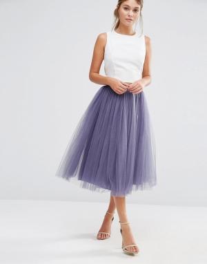 Little Mistress Тюлевая юбка миди. Цвет: серый
