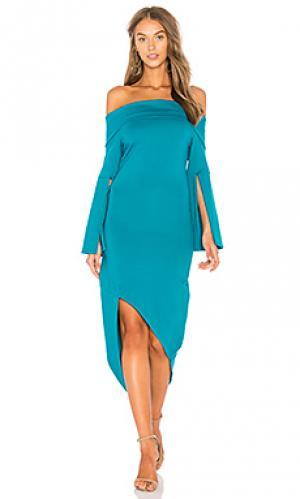 Платье со спущенными плечами spark ELLIATT. Цвет: сине-зеленый