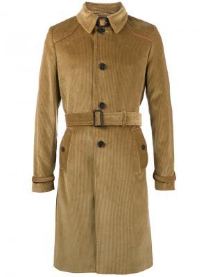 Вельветовый тренч с кожаными деталями Prada. Цвет: коричневый