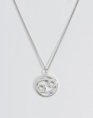 Fashionology Серебряное ожерелье со знаком зодиака Рак. Цвет: серебряный