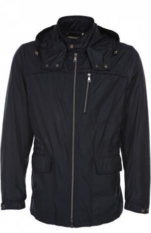 Куртка с капюшоном Mabrun. Цвет: темно-синий