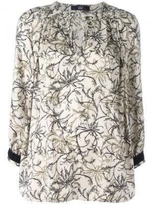 Блузка с цветочным узором Steffen Schraut. Цвет: телесный