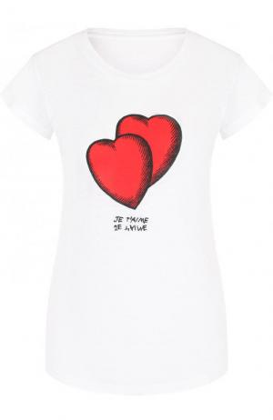 Приталенная футболка с контрастным принтом и круглым вырезом Zadig&Voltaire. Цвет: белый