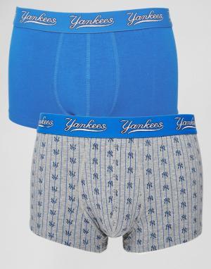 New York Yankees Комплект из 2 пар укороченных боксеров-брифов Yankee. Цвет: синий