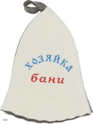 Шапка для бани с вышивкой в косметичке Хзяйка Метиз. Цвет: белый, серый