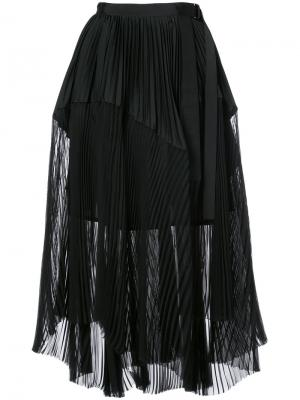 Плиссированная многослойная юбка Sacai. Цвет: чёрный