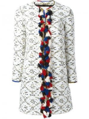 Декорированное пальто Bazar Deluxe. Цвет: белый
