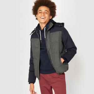 Куртка стеганая с капюшоном из двух материалов, 10-16 лет La Redoute Collections. Цвет: темно-синий/темно-серый