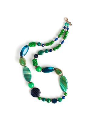 Колье Роман с камнем. Цвет: зеленый, синий