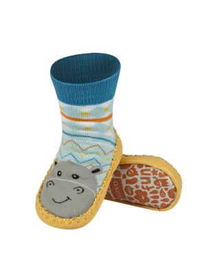 Тапочки-носочки Soxo. Цвет: синий, голубой, желтый
