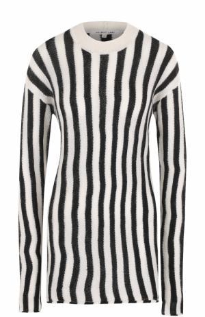 Удлиненный пуловер в полоску с круглым вырезом Helmut Lang. Цвет: белый