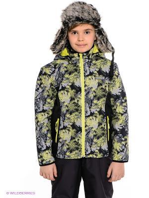 Куртка HUPPA. Цвет: серый, салатовый, черный