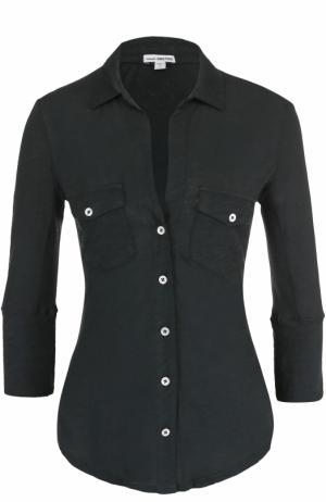 Приталенная блуза с укороченным рукавом James Perse. Цвет: хаки