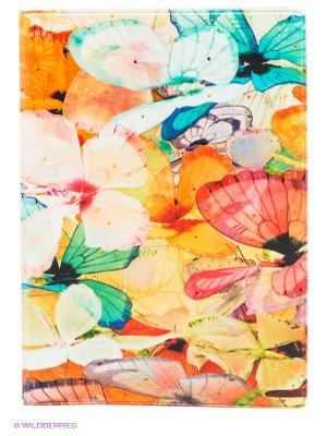 Обложка для паспорта Цветные бабочки Mitya Veselkov. Цвет: бирюзовый, оливковый, оранжевый